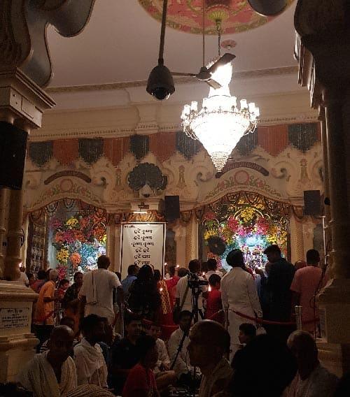 Devotees performing kirtan at ISKCON Vrindavan