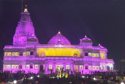 Prem Mandir lit up in the night