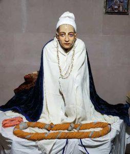 Srila Rupa Goswami at his samadhi mandir at Radha Damodar Mandir, Vrindavan