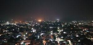 Night view of Barsana from Radharani Mandir
